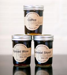 Hearty Jelly Trio – Coffee, Spiced Wine & Oatmeal Stout by Potlicker Kitchen on Scoutmob Shoppe Coffee Jelly, Coffee Wine, Black Ipa, Wine Jelly, Muffins, Label Shapes, Spiced Wine, A Moveable Feast, Coffee Crafts