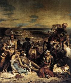 """Delacroix, """"Massacre at Chios"""", 1824. Once described as looking as if paint buckets were spilled on a canvas and stirred up. Fascinating how art critiques change..."""