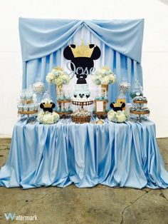 Royal Mickey Dessert Table by ✨💙✨💙✨💙✨ . Festa Mickey Baby, Theme Mickey, Minnie Mouse Theme Party, Mickey Party, Mickey Mouse First Birthday, Baby Boy First Birthday, Prince Birthday, Dulceros Mickey Mouse, Mickey Mouse Cake Topper