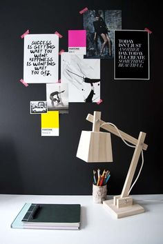 black wall moodboard + lamp