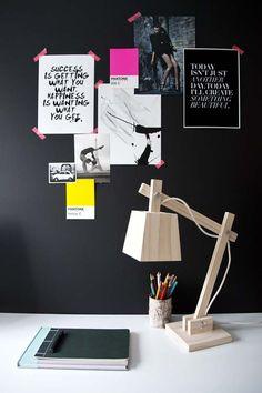 black wall moodboard + lamp