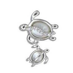 Sterling Silver Hawaiian Mother & Baby White Mother of Pearl Pendant