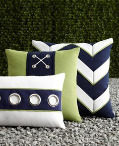 cute grommets on the lumbar pillow ELAINE SMITH Navy & White Outdoor Pillows - Horchow Fun for around the pool