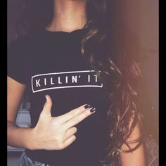 """Trendy Killin' It T-Shirt  Black """"Killin' It"""" printed T-shirt. Please take note of measurements. MEDIUM: Bust: 36""""; Length: 24"""". LARGE:  Bust: 37""""; Length 25.5"""". Polyester. Soft flowy material.  ***NEW in package**. #5B434  Price is firm unless bundled Tops Tees - Short Sleeve"""