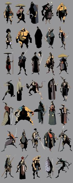 Samurai Concepts and other character Character Concept, Character Art, Concept Art, Character Sheet, Animation, Samurai Concept, Norman Rockwell, Character Design References, Character Design Inspiration