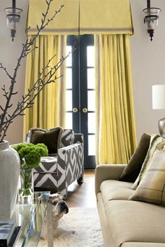 Banded curtains with box pleat valance