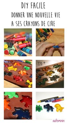DIY facile et ultra rapide pour recycler les petits morceaux de crayons de cire qui encombrent vos t Crafts For Boys, Diy For Kids, Diy And Crafts, Wax Crayons, Melted Crayons, Cute Dinosaur, Diy Bar, Paper Hearts, Cute Diys