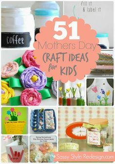 51 Mother's Day Craft Ideas for Kids! 51 Mother's Day Craft Ideas for Kids! Craft Activities For Kids, Crafts For Kids, Craft Ideas, Toddler Activities, Holiday Crafts, Holiday Fun, Holiday Themes, Spring Crafts, Fathers Day Crafts