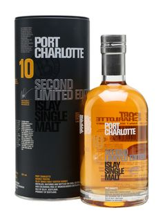The second release of Port Charlotte 10 Year Old has been matured in a combination of first-fill bourbon, sherry, Tempranillo and French wine casks. This peated whisky has notes of vanilla, caramel. Scotch Whiskey, Bourbon Whiskey, Wine Cask, Whisky Bar, Port Charlotte, Single Malt Whisky, Vintage Bottles, 10 Year Old, Alcoholic Drinks