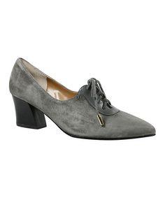 Dark Gray Ellam Leather Oxford Pump