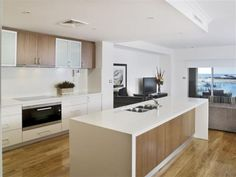 modern white kitchen designs with timber - Google Search
