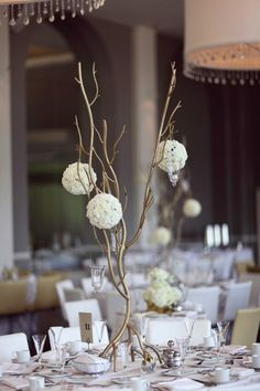 Gold White Centerpiece Centerpieces Fall Spring Summer Winter Wedding Flowers Photos & Pictures - WeddingWire.com