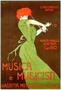 books0977:  Musica e Musicisti. Leonetto Cappiello (Italian, 1875-1942). Original lithograph from the Ricordi Portfolio. Printed in Italy, 1914. Much like the famous Maitre de L'Affiche series created by Cheret in Paris, this portfolio celebrated the rise of the poster - which in Italy was almost single-handedly accomplished by Ricordi.