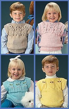 Quick Knit Animal Vests ePattern - Keep kids warm and smiling with these four cute knit vests for boys and girls by designer Barbara Boulton. Each Quick Knit Animal Vest pattern is sleeveless; its straight-neck top features one of four animal designs on the front and back yokes: teddy bear, bunny, kitten, and owl. The vests are knitted using worsted weight yarn and two sizes of straight knitting needles (6 and 10 for vest sizes 2 and 4; 7 and 11 for vest sizes 6 and 8). The designs are ...