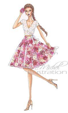 Fashion Illustration Print Pretty Petal by MMichelIllustration