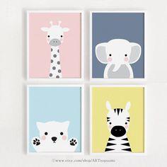 Descarga instantánea - Juego de póster de animales de arte de la pared de la habitación del bebé de 4 niños decoración art room 8x10, A4 Digita