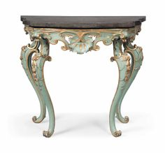 AN ITALIAN PAINTED AND PARCEL-GILT CONSOLE TABLE LATE 18TH CENTURY, REDECORATED