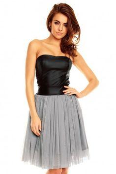 Skórzana sukienka z tiulową spódnicą