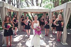 black bridesmaids dresses paired with pink shoes