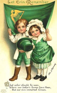 """Patrick's Day vintage greeting cards: Two cute kids holding green top hat in front of Irish flag """"Let Erin Remember"""" Vintage Greeting Cards, Vintage Postcards, Clipart Vintage, Printable Vintage, Vintage Ephemera, Vintage Paper, Free Printable, Fete Saint Patrick, Images Vintage"""