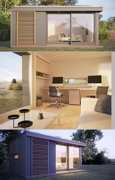backyard offices by British company Pod Space Más Outdoor Office, Backyard Office, Backyard Studio, Garden Studio, Garden Office, Shed Office, Office Pods, Tiny Office, Tyni House