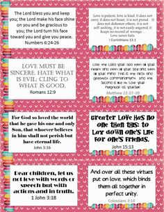 Hi All, I hope you are having a great Valentine's week so far. Today I wanted to share with you some Valentine's verse cards. I hope y. Verses For Kids, Valentine's Cards For Kids, Bible Lessons For Kids, Valentines Bible Verse, Scripture Cards, Bible Verses, Printable Scripture, Scripture Study, Prayer Jar