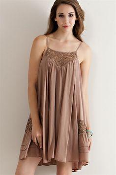 COLETTE Crochet Lace Detail Slip Dress