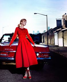 Christina Ricci with a vintage a red long-sleeve fit and flare dress for S Moda magazine February 2016