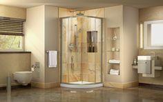 DreamLine Prime 33 in. x 33 in. H Corner Semi-Frameless Sliding Shower Enclosure in Chrome with Shower Base in - The Home Depot Shower Doors, Shower Tub, Corner Shower Enclosures, Dreamline Shower, Sliding Door Design, Sliding Doors, Shower Units, Shower Base, Big Design