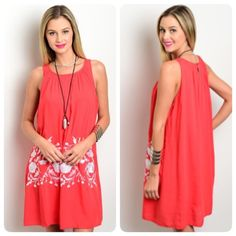 Last One (Medium)! Embroidered Pink & White Dress Perfect for warm days and nights by the pool or at happy hour! This flowy dress has a rounded neckline and a beautiful embroidered design. It is made of 100% rayon and is fully lined. The dress measures 35 inches long. Pinklicious Dresses