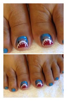 Shark bite toe nails...oh shoot, I'm going to do this for reals....though mine will not turn out as good as these, but much like the honeybadger, I don't give a sh*t, they will still be pretty funny :)