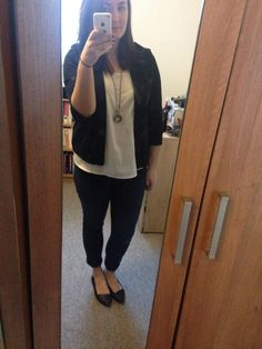 Blazer, jeans and flats, complete with a scarf for winter shopping!