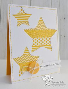 handmade card … negative space stars … strips of yellow patterned washi tape… handgemachte Karte … negative Weltraumsterne … Streifen aus gelb gemustertem Washi Tape … sauberes und helles Design … luv it ! Tarjetas Stampin Up, Stampin Up Cards, Handmade Birthday Cards, Greeting Cards Handmade, Washi Tape Cards, Karten Diy, Star Cards, Paper Cards, Diy Paper