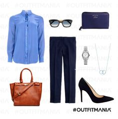 Outfit for a job: avvocato – Lei | camicia in seta Williams, pantaloni navy crew e borsa daily look... | #outfitmania #outfit #style #fashion #dresscode #amazing #blushirt #pants #skinny #shoes #elegant #classy #power #woman #job #gorgeous #cool #michaelkors #tiffany | CLICCA SULLA FOTO PER SCOPRIRE L'OUTFIT E COME ACQUISTARLO