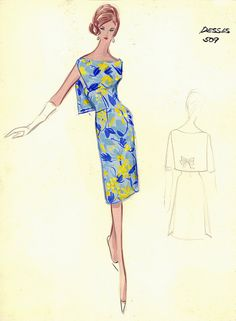 (••)                                                              Jean Desses sketches from Bergdorf Goodman
