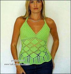 Katia Ribeiro Acessórios: Cropped top crochê - Top em Crochê