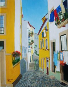 """Beco das Escadinhas dos Remédios"" (Alfama's neighborhood, Lisbon, Portugal), 2013/14, óleo s/tela (oil on cavas), 27 x 35 cm -----> Note: Like others paintings of my portfolio, this one is a representation of one of several streets of the most typical neighbourhood of Lisbon (capital of Portugal): Alfama, is the oldest in Europe after El Pópulo in Cadiz."