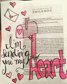 I'm sending you my heart #Philemon1 #biblejournaling #biblejournalingcommunity by meadowsbiblejournaling