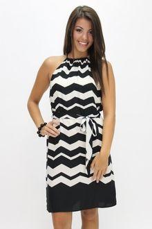 Glam Chevron Aflutter Dress - Southern Flair Boutique