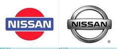 """DATSUN em 1982, modificado para NISSAN. A moldura azul (Céu,sucesso na cultura japonesa) e um círculo vermelho ao fundo (Sol,sinceridade) remetiam ao provérbio """"sinceridade leva ao sucesso"""". A alteração do design 2D (vermelho e azul) para o atual 3D (prateado) seguiu uma tendência mundial das montadoras de veículos. A nova marca combina um círculo representando o sol nascente atravessado por uma faixa que significa honestidade. Simbolismo com o sentido de """"honestidade encontra o céu""""…"""