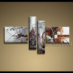 Huge Modern Abstract Painting High Quality Oil Painting For Bed Room Abstract. This 4 panels canvas wall art is hand painted by A.Qiang, instock - $175. To see more, visit OilPaintingShops.com