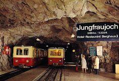 Jungfraujoch train. Station in a mountain.