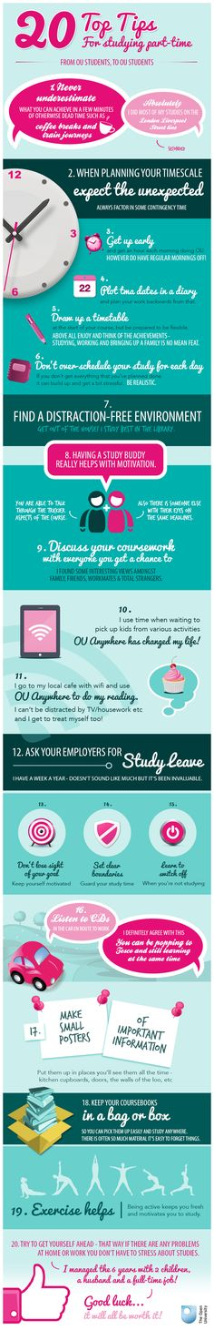 20 Top Tips for Part-Time Study - advice from OU students, to OU students