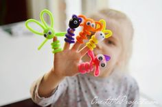 Pipe Cleaner Finger Puppets. These are super easy to put together and make such a fun weekend craft for the kids!