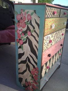 Hand Painted Furniture ~ Zebra. Cute idea for the girls room - a little more sedate though