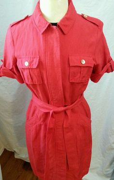 Calvin Klein Red Dress Size 10 Casual Linen Jumper Sexy Safari Style Gold Tone #CalvinKlein #Sheath #Casual