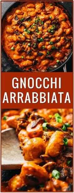 gnocchi arrabbiata, arrabiatta, bacon, tomatoes, pasta, dinner, recipe, easy, spicy, pomodoro, pasta sauce, creamy thick sauce, italian via /savory_tooth/ (cool drinks easy)