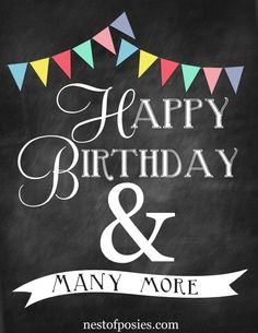 Happy Birthday Bunting Chalkboard Printable 1