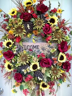 Tuscan Sunflower Welcome Colorful Full by SeasonalWreaths on Etsy
