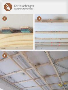 Selbst eine dreistufige Decke abhängen? Diese Anleitung hilft mit Tipps und Tricks beim Abhängen Ihrer mehrstufigen Zimmerdecke auf einer Holzkonstruktion.